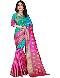 Viva N Diva Sarees For Women's Pink & Teal Blue Color Banarasi Art Silk Saree With Unstitched Blouse Piece