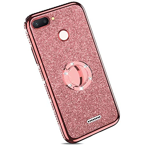 Ysimee Coque Compatible pour Xiaomi Redmi 6 Paillette Glitter Silicone TPU Etui Con Support Bague Strass Bling Brillante Couleur Placage Gel Case pour Fille/Femme Anti Choc Ultra Mince Housse,Or Rose