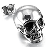 Peora 316L Stainless Steel Silver Tone Skull Stud Earrings For Men Boys