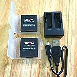 #6: BIGHUB charger and 2battery : SJCAM Accessories SJ6 Batteries Rechargable Battery Dual Charger Battery Case For SJCAM SJ6 Legend Action Sports Camera