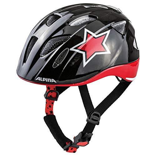 Alpina Ximo Flash Kinder Fahrradhelm - Black Red White Star, Kopfumfang:47-51 cm