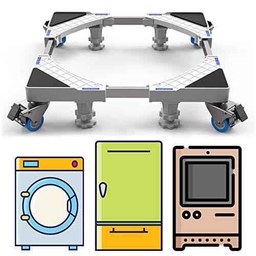 DEWEL Podeste & Rahmen für Waschmaschinen, Verstellbare Sockel Untergestell mit Füße und Schwenkräder für Trockner, Waschmaschine und Kühlschrank(44-69cm)