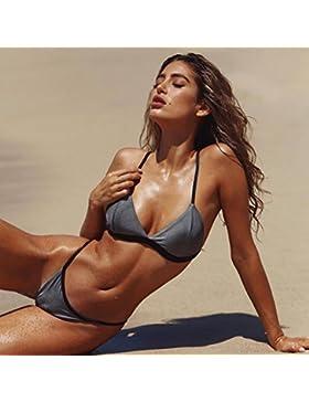 TIANLU Bikini Sexy Conjuntos Bañador de Adelgazamiento Trajes de Baño de Dos Piezas con Techo Azul Moda Bañador...