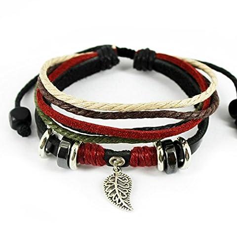 Plus de Fun Pendentif feuille de style tribal coloré multicouche Bracelet en cuir souple réglable