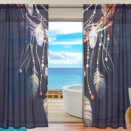 Cortina de tul transparente atrapasueños de ramas de árboles, cortinas de gasa para ventana, para dormitorio, 55 pulgadas de ancho x 78 pulgadas de largo, 2 paneles, poliéster, Image 822, 55x78x2(in)