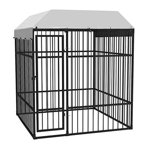 Premium XXL Hundezwinger für Draußen mit Dach und Tür | 195 x 195 x 230 cm | Hundehütte Hundekäfig Sonnendach Hundehaus Hütte | außen Auslauf
