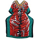 Mogul Interior Kimono Caftan Dresses Red Printed Boho Kaftan Cover Up House Dress XXXL