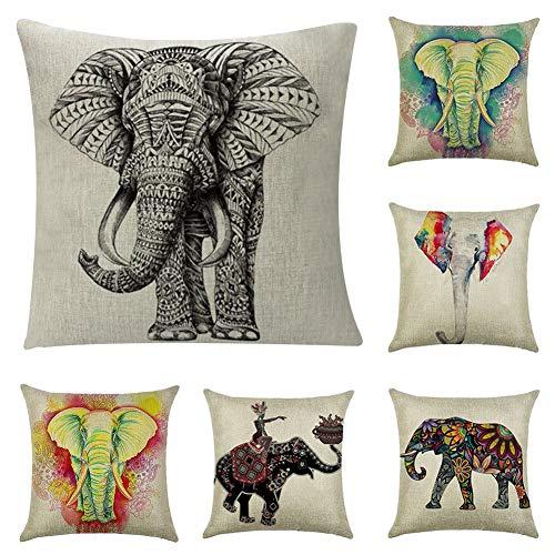 JOTOM Funda de Almohada,de Lino de algodón Suave sofá Funda de cojín del Coche decoración de la Cama en casa 45 x 45 cm, Juego de 6 (Elefante)