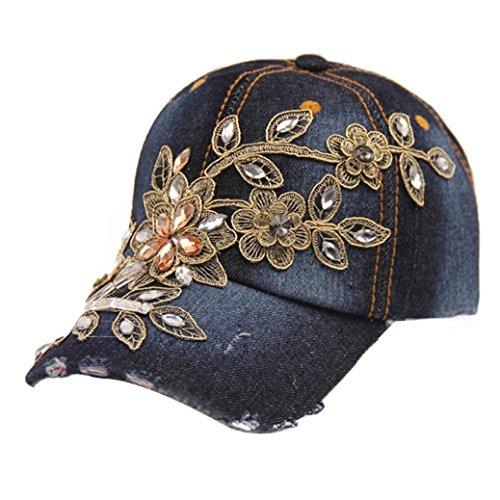 Frauen Denim Hut DDLBiz® Frauen Diamant-Blumen-Baseball-Mütze Summer Style Lady Jeans Mützen (C) - Denim-baseball-hüte Womens