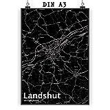 Mr. & Mrs. Panda Poster DIN A3 Stadt Landshut Stadt Black -