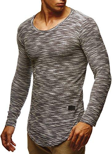 LEIF NELSON Herren Pullover Longsleeve Hoodie Basic Sweatshirt Hoodie Hoody Sweater LN6358; Grš§e L, Schwarz