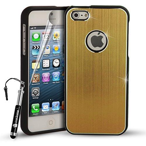 MadCase iPhone 5s/5gebürstet Metall Stoßfest 2Teil Cover Bumper Black Bumper 2 Part - Gold