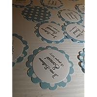 25 Tag azzurri pois bianchi- Etichette per matrimonio, regalo, eventi, pacchetti, battesimo