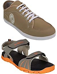 Globalite Men's Casual Stylish Sports Sandals/Office Floaters & Canvas Sneaker Shoes (Pack Of 2)