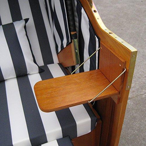 Zweisitzer Strandkorb mit klappbarer Rückenlehne für 2 Personen 118 x 80 x 160 cm (Blau / Weiss) - 7