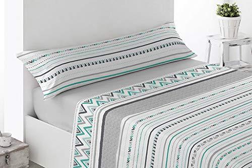 Energy Colors Textil - Hogar - Serie Ottawa - Juego Sábanas 3 Piezas Verano Tacto Super Soft Gris...