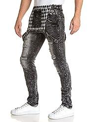 BLZ jeans - Salopette grisé délavé et déchiré slim pour homme