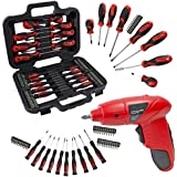 SPARES2GO Complete Magnetic and Precision Screwdriver & Bit Tool Set & Mini Cordless Rechargeable Electric 4.8v Screwdriver