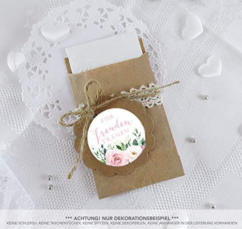 SET GROß 48 Freuden Tränen Sticker + 48 braune Flachbeutel 63 x 93 mm Freudentränen Taschentuch Verpackung BOHO HIPPIE ROSEN EUKALYPTUS BLATT WEIß ZWEIGE ROT ROSA BLAU GRÜN 4cm matt rund