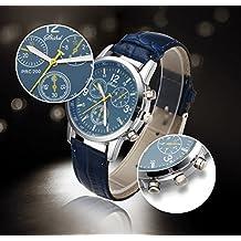 Lightinthebox 00359856- Reloj de pulsera con movimiento de cuarzo, para hombre, correa de material PU, color azul