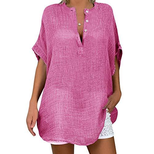 Honestyi Übergröße Frauen Casual Baggy Langarm T Shirt Sommer Leinen Strand Tunika Bluse Damen lässig lose Größe Langarm V Ausschnitt Baumwolltop(Pink,XXXXL)