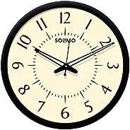 Amazon Brand - Solimo 12-inch Wall Clock - Classy (Silent Movement, Black Frame)