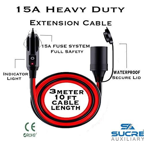 12-24V 15A Heavy Duty Power Motorrad Auto-Zigarettenanzünder Stecker Verlängerung 3m Kabel -