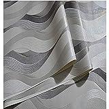 ZSLLO PVC Negro Blanco Plata Rayado Papel Pintado 3D Moderno salón Vinilo a Prueba de Agua con Textura de Raya Papel de Pared Rollos Fondo de Pantalla Animado (Color : D)
