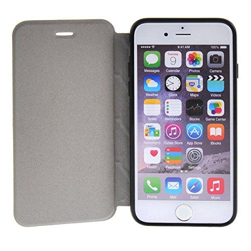 MOONCASE Étui pour iPhone 6 / 6S Plus (5.5 inch) Premium PU Portefeuille Cuir Coque en Housse de Protection Case à rabat Doré Noir #1104