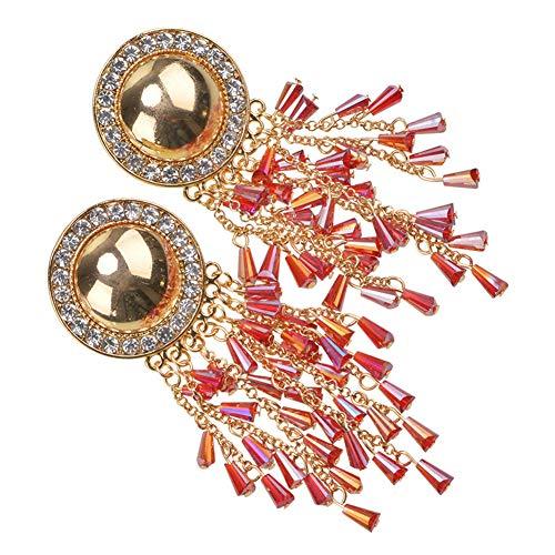 Grandi orecchini esagerati di tendenza occidentale orecchini in lega di diamante di alta qualità orecchini originali orecchini nappa retrò,rosso,hlh hlh