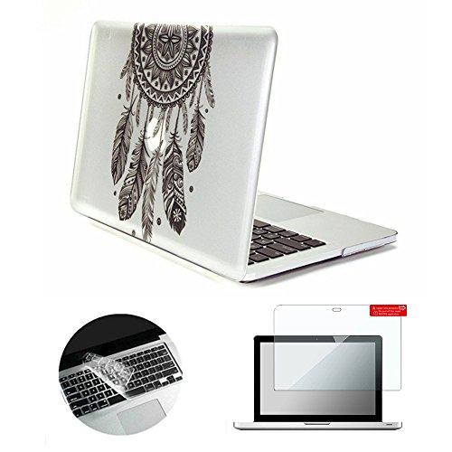 Se7enline Sanfte Schutzschale, Kunststoff, mit schwarzem Tastaturschutz aus Silikon und transparenter Displayschutzfolie, Design: schwarze Kreise, für Macbook Traumfänger