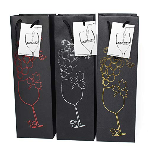 6 bolsas regalo vino negro etiqueta regalo asas, diseño
