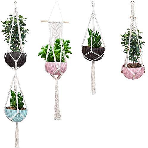 Makramee Blumenampel Pflanzenhalter Set 4 Baumwoll-Seil-Pflanzer Korb Halter Blumentopf mit 4 Haken an der Decke oder Wand Blumentopf zum Hängen für drinnen oder draußen, Balkon, Garten, Wohnen