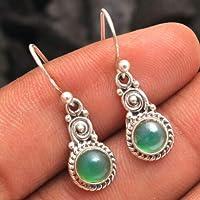 Orecchini pendenti in argento sterling con pietre preziose di onice verde per donne e ragazze, orecchini con castone per…