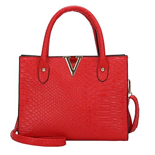 TUDUZ Handtasche Damen Umhängetasche Alligator Muster Schultertasche Crossbody PU Leder Tasche (Rot) Alligator-sweatshirt
