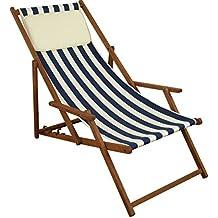Erst Holz Strandstuhl Blau Weiß Gartenliege Sonnenliege Kissen Deckchair  Buche Dunkel Klappbar 10