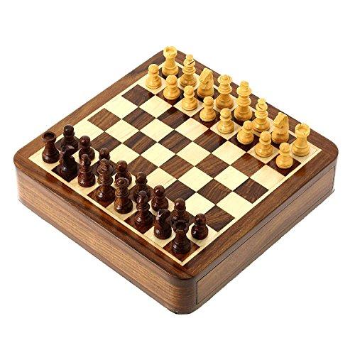 Magnetische Chess Stück Set und hölzerne Board Travel Spiele 18 x 18 Cm (Set Chess Board)
