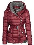 Femme Veste d'hiver tricotée col Grande Capuche Manteau court Veste de ski -  Rouge -