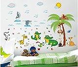 HALLOBO® Wandtattoo Krokodil Wal Schildkröte Giraffe Tiere Strand Wandaufkleber Bad Wandsticker Wall Sticker Wohnzimmer Schlafzimmer Deko