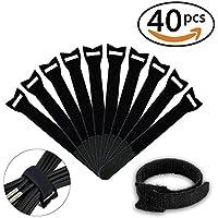 LIVEHITOP 40pcs riutilizzabili Fascette 250mm, regolabile Magic Stick cinghie avvolge gancio e anello nero (pacchetto di 40)