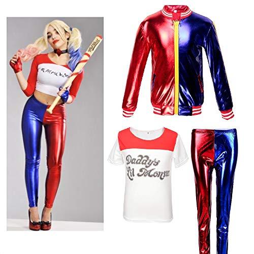 Ropa para niñas y niños Suicide Squad DC Comics Cosplay Harley Quinn Fiesta de Disfraces Película de Disfraces (9-10 Years(140cm-150cm Child))