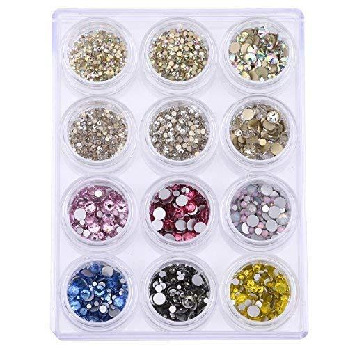 Lose Runde Flache Glas Kristall Strass Set für Glitzer Nägel Art DEKORATION Mix Größe 9Farben 3842~ 4408Stück