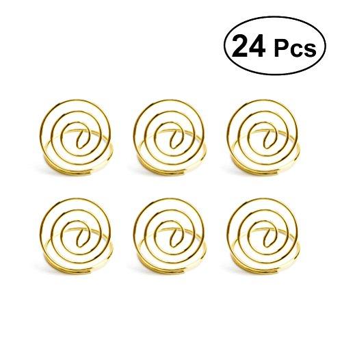 (BESTONZON 24Hochzeit Tisch Nummer Halterung Ring Form Clip Foto-Halter Platz, Karte Steht Halter (Golden))