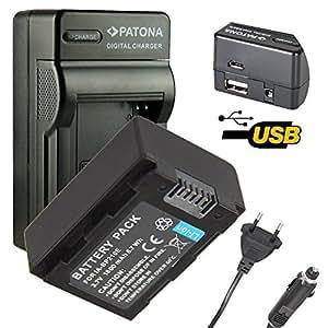4en1 Chargeur PATONA + Batterie pour Samsung HMX-H320, HMX-H200, HMX-H300, HMX-H203, HMX-H204