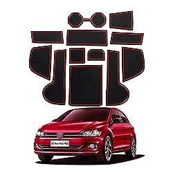 YEE PIN Auto Türnut Anti Rutsch Pad Kompatibel mit Volkswagen VW Polo MK6 2018 2019 Autoinnenausstattung Wasserbecher Aufbewahrungsbox Anti-Rutsch-Matte Gummimatte Antirutschmatten 12-Piece Set (Rot)