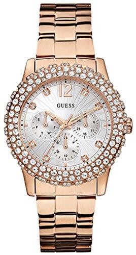 Guess Damen-Armbanduhr Dazzler Analog Quarz Edelstahl beschichtet W0335L3 (Guess Rose Gold Watch)
