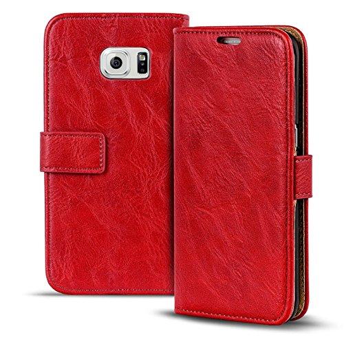 Samsung Galaxy S6 Edge Vintage Tasche Bookstyle Rot, PU LEDER Hülle Rot, Handyhülle Galaxy S6 Edge Flip Case Wallet, Booklet Cover Brieftasche Etui Schutzhülle mit Kartenfächer, Samsung Galaxy S6 Edge (5,1 Zoll (13 cm)