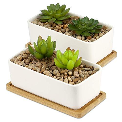 Keramiktopf & Bambussockel | Sukkulente Pflanzgefäße für den Innen- und Außenbereich | Kakteen & kleine Hauspflanze Weiße Töpfe | M&W (x2 Rechteckig)