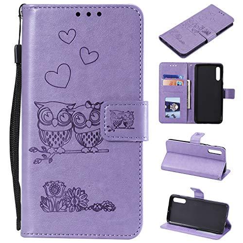 MOONESS Custodia Galaxy A50 - Custodia Flip Premium Protettiva Portafoglio PU Pelle Case Cover(O-Viola)