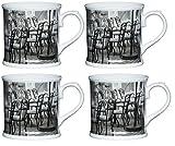 Kitchen Craft Porzellan Cafe Stuhl bierkrugförmig Tasse, Multi/Farbe (Set von 4),